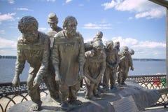 Transportistas de la gabarra en el Volga fotos de archivo libres de regalías