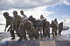 Transportistas de la gabarra en el Volga imagen de archivo