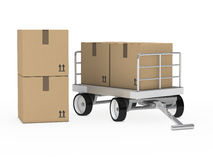 Transportlaufkatze mit Paketen Stockfoto