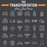 Transportlinie Ikonensatz, Transportsymbole Lizenzfreie Stockfotografie