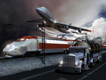Transports. A big plane flying, a modern high-speed train on its railroad and a big tank truck on the road, representing three kinds of means of transportation Royalty Free Stock Photo