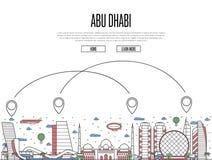 Transports aériens à l'affiche d'Abu Dhabi dans le style linéaire Illustration Stock