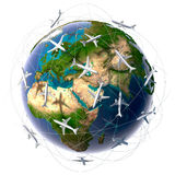 Transports aériens internationaux Images libres de droits