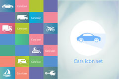Transports icon set. Car icons set. Vector silhouettes of vehicles Stock Photos