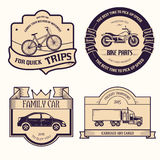 Transports set retro label template of emblem element for your product or design, web and mobile applications with text Stock Photos
