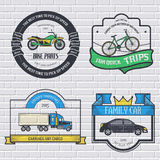 Transports set retro label template of emblem element for your product or design, web and mobile applications with text Royalty Free Stock Photo