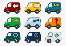 Transports. Set of trucks with transportation symbols - illustration Stock Photography