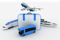 Transports with suitcase Royalty Free Stock Images