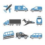 Transportsymboler - en uppsättning av sjunde Arkivbilder