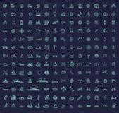 178 transportsymboler, tunn linje design royaltyfri illustrationer