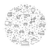 Transportsymboler, tunn linje design Arkivbilder
