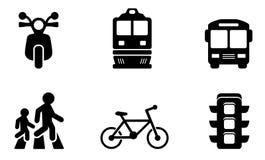 Transportsymbolssamlingar royaltyfri illustrationer