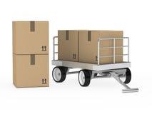 Transporttrolly med packar Arkivfoto
