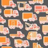 Transportu bezszwowy wzór z różnymi typami ciężarówki w kreskowym stylu ilustracja wektor