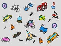 Transportu doodle z kolor folującym przedmiota wektorem ilustracja wektor