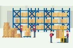 Transportu magazyn i logistycznie z pracownika ładunku pudełka bolączką Zdjęcie Stock