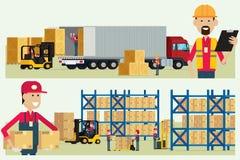 Transportu magazynowy logistycznie pracownik sprawdza towary z wor Fotografia Royalty Free