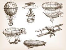 Transportu powietrznego rocznika nakreślenia ręka rysujący wektor Obraz Royalty Free