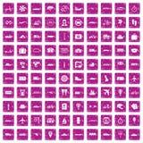 100 transportu publicznego grunge ikony ustawiających menchii Obrazy Stock