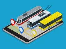 Transportu Publicznego trolleybus, autobus, tramwaj Online rozkład App dla pastylki Płaska 3d Wektorowa isometric ilustracja Zdjęcie Stock