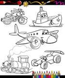Transportuppsättning för färgläggningbok royaltyfri illustrationer