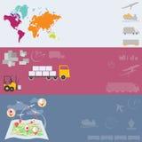 Transportvektorfahnen der Logistik und des Transportes globale Stockfoto