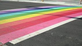Transportwagenschuß Vancouvers Pride Rainbow Crosswalk, 4K, UHD stock video