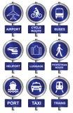 Transportzeichenansammlung Stockfotos