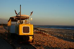 The Transpraia on the beaches of Caparica, Portugal royalty free stock images