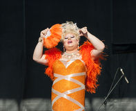 Transsexual in Orange Dress at Capital Pride Royalty Free Stock Photos