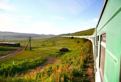 Transsiberische Spoorweg van Peking China aan ulaanbaatar Mongolië Royalty-vrije Stock Afbeeldingen