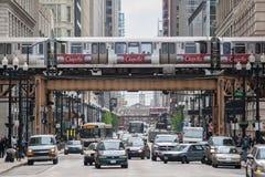 Transsportation i i stadens centrum Chicago Royaltyfria Foton