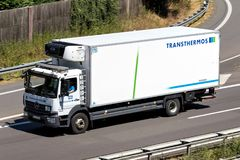 Transthermos truck on motorway. Transthermos dispatches 700 refrigerated trucks and transports 3.6 million pallets with a total weight of 1.3 million tons per royalty free stock photos