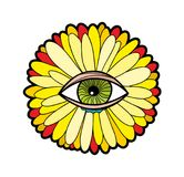Transvaal daisy isolated on the white background. Colorful vector illustration with strange flower and the human eye in the crenter royalty free illustration