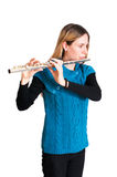 Transverse flute. Young woman playing transverse flute Stock Image