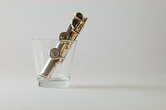 Transverse flute as straw Royalty Free Stock Images