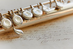 Transverse Flute. Letter, close up Royalty Free Stock Photography