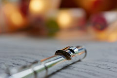 Transverse Flute. Sheet music, close up Royalty Free Stock Photos
