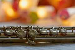 Transverse Flute. Sheet music, close up Royalty Free Stock Image