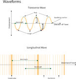 Transverse and Longitudinal Waves. Diagram showing transverse and longitudinal wave forms royalty free illustration