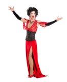 Transvestit i rött utföra för aftonklänning Arkivbilder