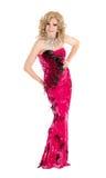 Transvestit i rött utföra för aftonklänning Royaltyfria Bilder