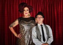 Transvestit och Retro man Arkivfoton