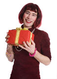 Transvestite with a gift Stock Image