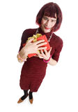 Transvestite with a gift Royalty Free Stock Image