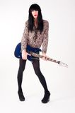 Transvestite in heels with electric guitar Royalty Free Stock Photography