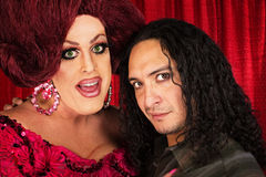 Transvestite with Male Partner stock photo