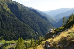 Transylvania, Romania, Fagaras mountains in summer,. The highest range of the Southern Carpathians. You can see mountain slopes covered with forest royalty free stock photos