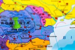 Transylvania Romania map. Transylvania in Romania pinned on colorful political map of Europe. Geopolitical school atlas. Tilt shift effect stock photos