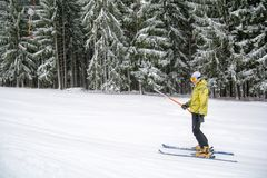 Transylvania winter time skiing sports with family in the mountains in Romania. Transylvania winter time skiing sports with family in the mountains royalty free stock photos
